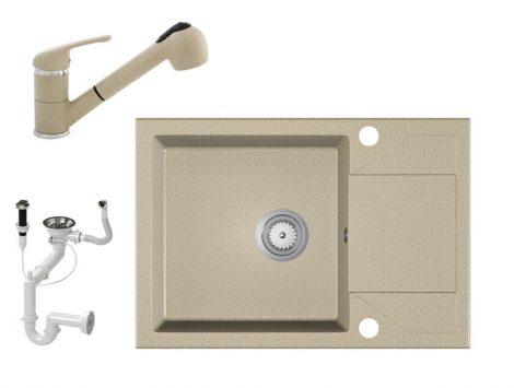 Gránit Mosogató EOS Adria + Kihúzható Shower Csaptelep + Dugóemelő (bézs)