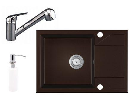 Gránit Mosogató EOS Adria + Kihúzható Shower Csaptelep + Adagoló (sötétbarna)