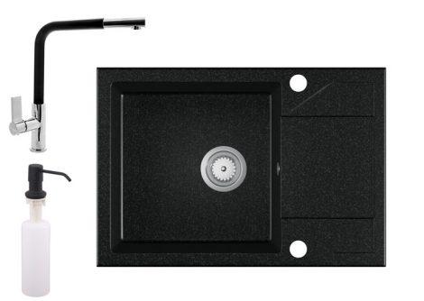 Gránit Mosogató EOS Adria + kihúzható Linea csaptelep + adagoló - fekete