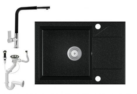 Gránit Mosogató EOS Adria + kihúzható Linea csaptelep + dugóemelő - fekete