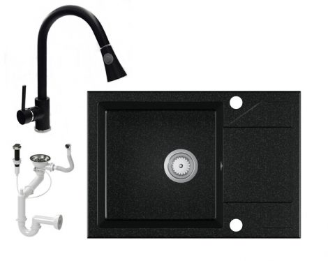 Gránit Mosogató EOS Adria + kihúzható Snake csaptelep + dugóemelő - fekete