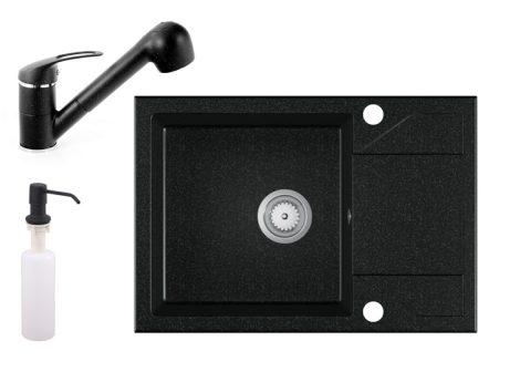 Gránit Mosogató EOS Adria + kihúzható Shower csaptelep + adagoló - fekete