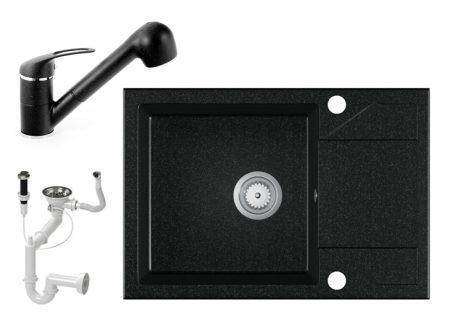Gránit Mosogató EOS Adria + kihúzható Shower csaptelep + dugóemelő - fekete