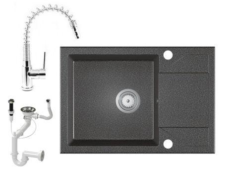 Gránit Mosogató EOS Adria + Kihúzható Spring-Jet Csaptelep + Dugóemelő + Szifon - grafit szürke
