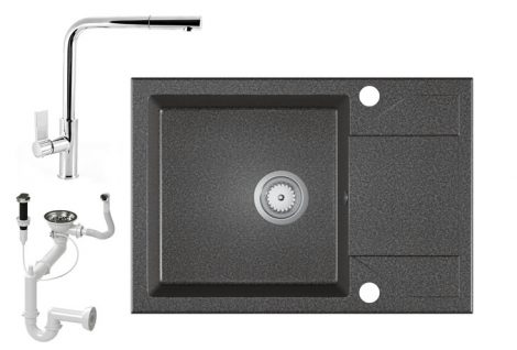 Gránit Mosogató EOS Adria + Kihúzható Linea Csap + Dugóemelő + Szifon - grafit szürke