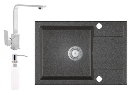Gránit Mosogató EOS Adria + Design Csap + Szifon + Adagoló -grafit szürke