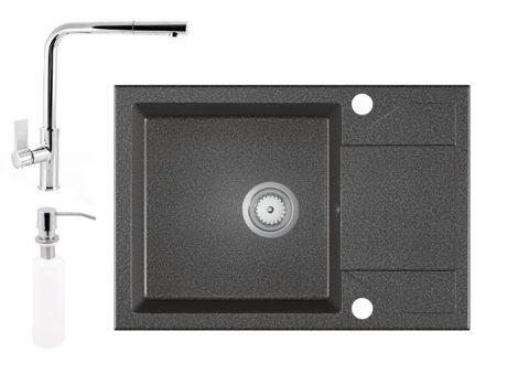 Gránit Mosogató EOS Adria + Kihúzható Linea Csaptelep + Adagoló - grafit szürke