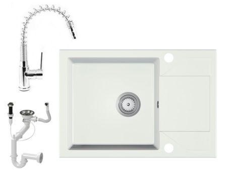 Gránit Mosogató EOS Adria + Kihúzható Spring-Jet Csaptelep + Dugóemelő + Szifon (fehér)