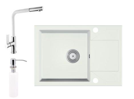 Gránit Mosogató EOS Adria + Kihúzható Linea Csap + Adagoló + Szifon (fehér)