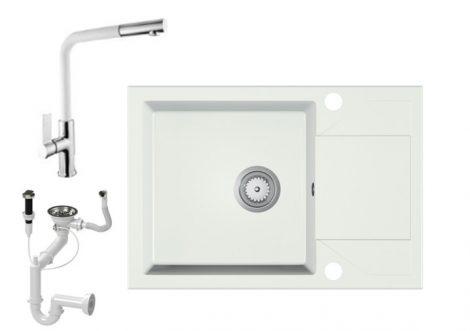 Gránit Mosogató EOS Adria + Kihúzható Linea Csap + Dugóemelő + Szifon (fehér)