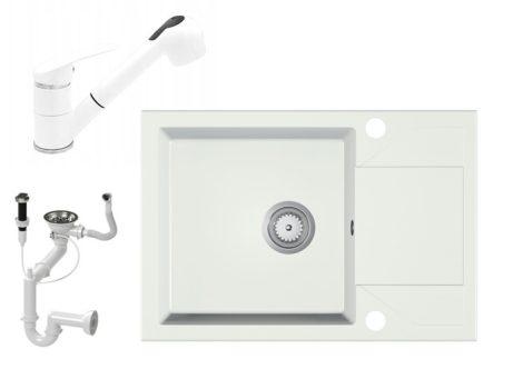 Gránit Mosogató EOS Adria + Kihúzható Shower Csap + Dugóemelő + Szifon (fehér)