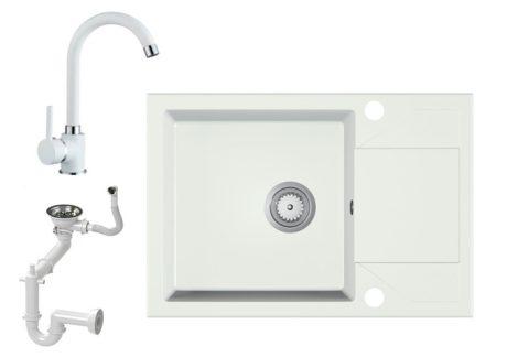 Gránit Mosogató EOS Adria + Csap + Szifon (Fehér)