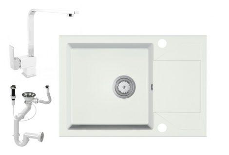 Gránit Mosogató EOS Adria + BiColor Deisgn Csap + Dugóemelő (fehér)