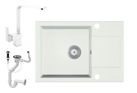 Gránit Mosogató EOS Adria + BiColor Design Csap + Dugóemelő (fehér)