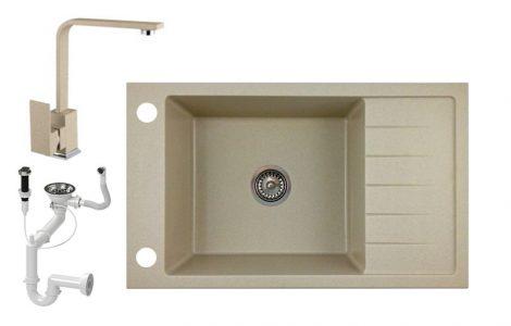 Gránit mosogató NERO Grande + Design csaptelep+ dugóemelő + szifon - bézs