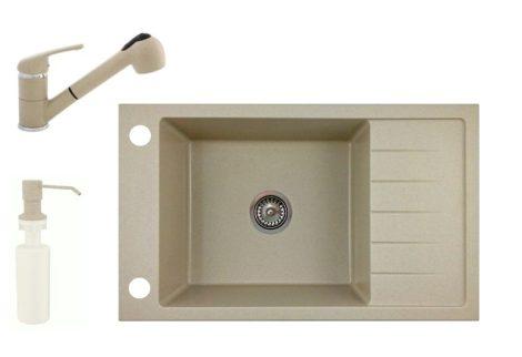 Gránit mosogató NERO Grande + kihúzható Shower csaptelep+ adagoló + szifon - bézs