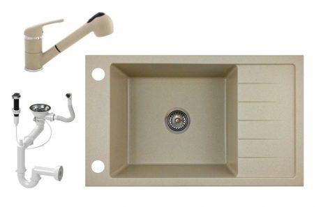 Gránit mosogató NERO Grande + kihúzható Shower csaptelep+ dugóemelő + szifon - bézs