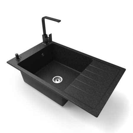 Gránit mosogató NERO Grande + Design csaptelep + adagoló (fekete)