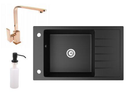 Gránit mosogató NERO Grande + Design Rose-Gold csaptelep + adagoló (matt fekete)