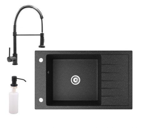Gránit mosogató NERO Grande + Loop-Spiral multifunkciós csaptelep + adagoló (fekete)