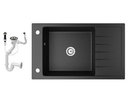 Gránit mosogató NERO Grande + dugókiemelő (matt fekete)