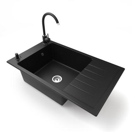 Gránit mosogató NERO Grande + magasított csaptelep + adagoló (matt fekete)