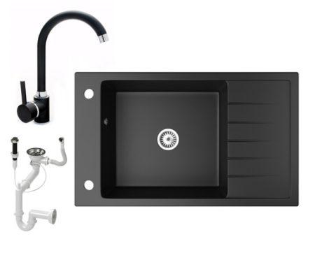 Gránit mosogató NERO Grande + magasított csaptelep + dugókiemelő (matt fekete)
