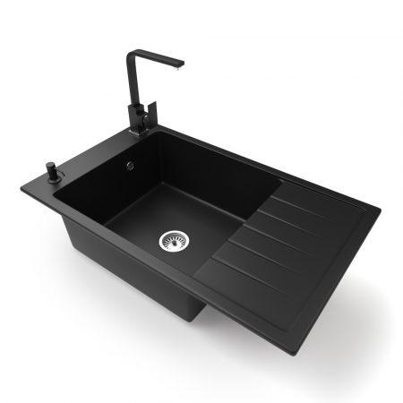 Gránit mosogató NERO Grande + Design csaptelep + adagoló (matt fekete)