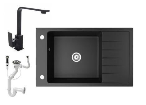 Gránit mosogató NERO Grande + Design csaptelep + dugókiemelő (matt fekete)