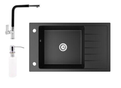 Gránit mosogató NERO Grande + kihúzható Linea csaptelep + adagoló (matt fekete)