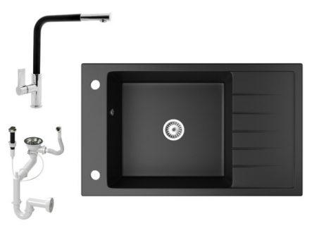 Gránit mosogató NERO Grande + kihúzható Linea csaptelep + dugókiemelő (matt fekete)