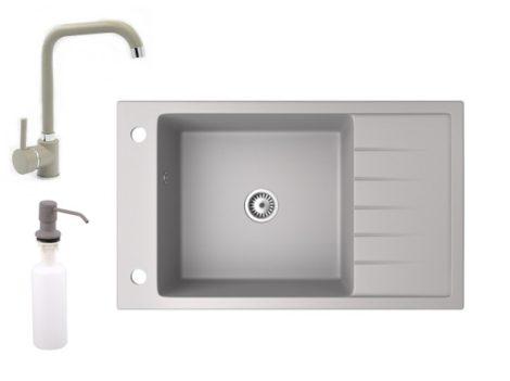 Gránit mosogató NERO Grande + Steel csaptelep + adagoló (szürke)