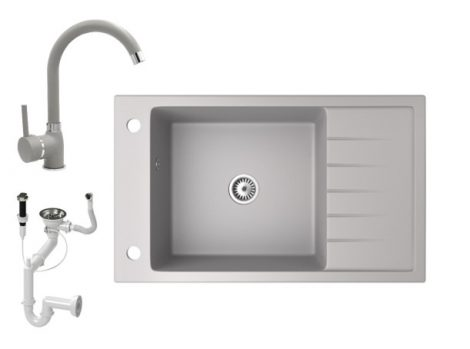 Gránit mosogató NERO Grande + magasított csaptelep + dugókiemelő (szürke)