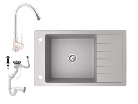 Gránit mosogató NERO Grande + magasított inox csaptelep + dugókiemelő (szürke)