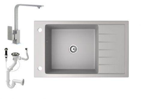 Gránit mosogató NERO Grande + Design csaptelep + dugókiemelő (szürke)