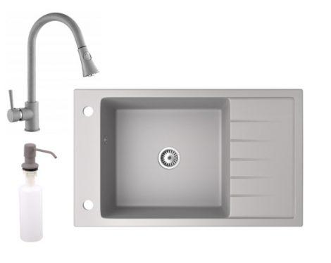 Gránit mosogató NERO Grande + kihúzható zuhanyfejes Snake csaptelep + adagoló (szürke)