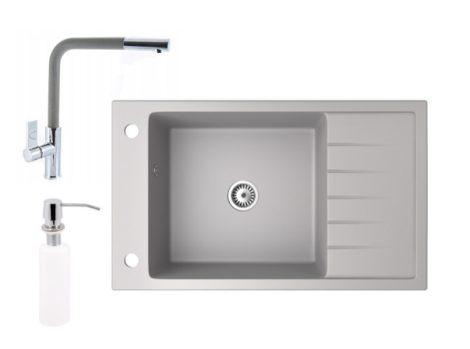 Gránit mosogató NERO Grande + kihúzható Linea csaptelep + adagoló (szürke)