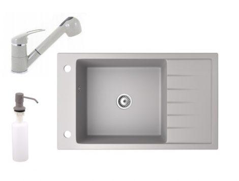 Gránit mosogató NERO Grande + kihúzható zuhanyfejes Shower csaptelep + adagoló (szürke)