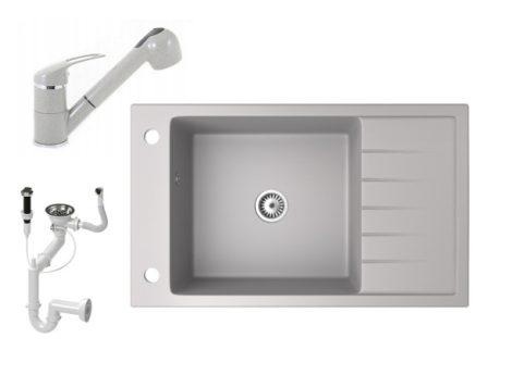 Gránit mosogató NERO Grande + kihúzható zuhanyfejes Shower csaptelep + dugókiemelő (szürke)