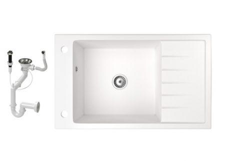 Gránit mosogató NERO Grande + dugókiemelő (fehér)