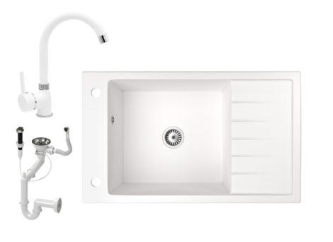 Gránit mosogató NERO Grande + magasított csaptelep + dugóemelő (fehér)