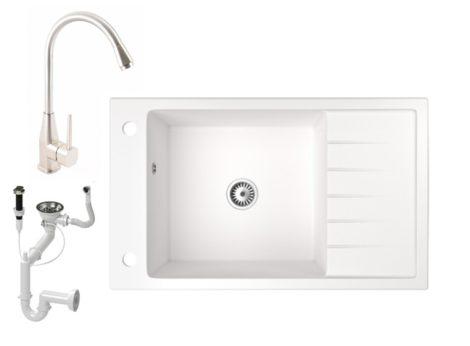 Gránit mosogató NERO Grande + Inox-Line-3 csaptelep + dugóemelő (fehér)