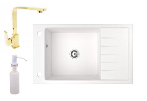 Gránit mosogató NERO Grande + Design-Gold csaptelep + adagoló (fehér)