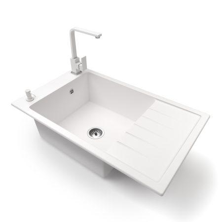 Gránit mosogató NERO Grande + Design csaptelep + adagoló (fehér)