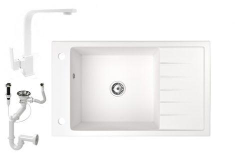 Gránit mosogató NERO Grande + Design csaptelep + dugóemelő (fehér)