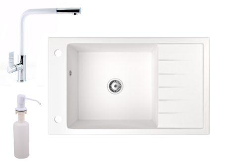 Gránit mosogató NERO Grande + kihúzható Linea csaptelep + adagoló (fehér)
