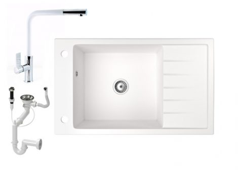 Gránit mosogató NERO Grande + kihúzható Linea csaptelep + dugóemelő (fehér)