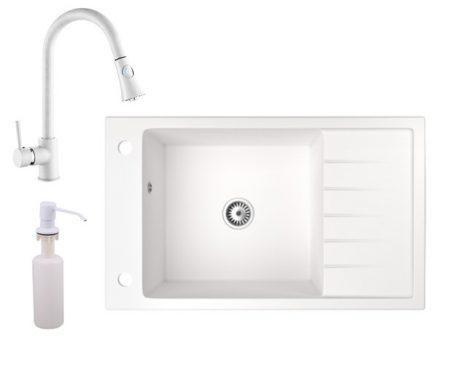 Gránit mosogató NERO Grande + kihúzható zuhanyfejes Snake csaptelep + adagoló (fehér)