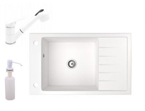 Gránit mosogató NERO Grande + kihúzható zuhanyfejes Shower csaptelep + adagoló (fehér)