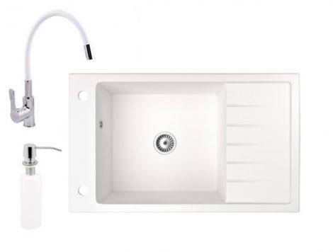 Gránit mosogató NERO Grande + flexibilis csaptelep + adagoló (fehér)